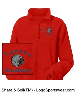 Adult Red Quarter-Zip Pullover with TA Logo Design Zoom