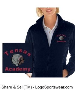 Ladies' Navy Full-Zip Jacket with TA Logo Design Zoom
